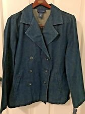 NWT CHARTER CLUB Womens Blue Denim Double Breasted Jacket-Size Med-Cotton