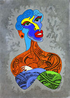 Original Abstract Painting PICASSO Tatto Acrylic Portrait Fine Art Dot People