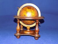 Vintage Wood Desktop Astrology Globe w/ Stand