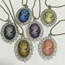 Hot MIX 6pcs Beauty Head Goddess Cameo Charm silver Alloy Lady Necklace