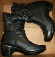 EUC NAOT Isreal $200+ Leather Mid Calf Zip Heels Slouch Booties EU 41 = US 10 M