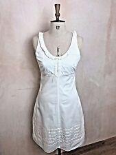 Womens White Linen Warehouse Dress Button Ribbon Frill detail Tennis style UK 10