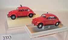 Brekina 1/87 2 x VW Käfer 25209 Feuerwehr Japan & Feuerwehr Brandweer OVP #3333