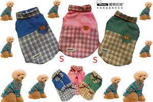 Ambaby Small Dog Polo Shirt Puppy Polo T-Shirt Plaid Shirt Pet Clothes Dog Skirt