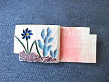 Vintage carved & painted cactus & flower galalith piece applique jewelry making