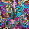 BonEful FABRIC FQ Cotton Quilt Rainbow Flower Hippie Retro Pink Orange Purple UK