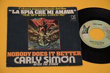 """7"""" 45 LA SPIA CHE MI AMAVA COL SONORA ORIG CARLY SIMON 1975 EX"""