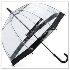 Quality Womens Clear Dome Bird Cage Transparent Umbrella With Black Trim  86cm