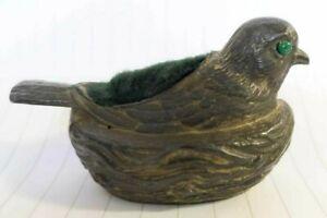 Antique - Bird on Nest Pin Cushion - Pewter Metal