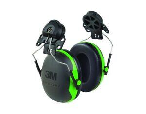 3M PELTOR X1P3E 21DB Rating NRR, Hard Hat Mounted Ear Muffs, Black/Green