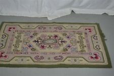 old hooked rug scatter 26x44 in. wool green maroon white antiq/vtg original 1890