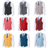Mens Casual Business Dress Suit Formal Slim Fit Vest Sleeveless Gilet Waistcoat