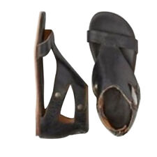 Womens Gladiator Casual Sandals Summer Flat Leather Shoes Roma Style Goth Size