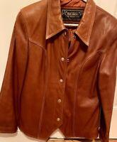 Rem Garson Vintage Leather Jacket with Back Detail Luggage Color