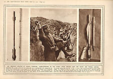 1915 WWI PRINT ~ HAND GRENADES BRITISH & FRENCH WEAPON OF TRENCH WARFARE GERMANS