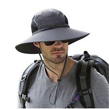 Adult's Wide Brim Sun Hat Outdoor Sunscreen Waterproof Bucket Mesh Boonie Hat US