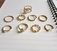 9Pcs Vogue Alloy Gold knuckle Stacking Rings Thin White Opal Gem Ring Set Gifts