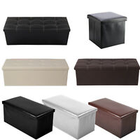 2 seater double large folding storage faux leather ottoman pouffe seat stool box