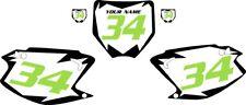 2003-2012 Kawasaki KX125 Pre-Printed White Backgrounds Black Shock Green Number