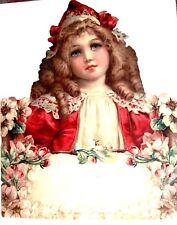 Large Brundage Vintage Die Cut -Germany- Beautiful Girl w/ Pink Flowers *