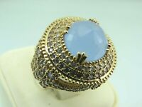 Turkish Handmade Jewelry 925 Sterling Silver Chalcedony Stone Women Ring Sz 7
