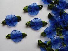"1""(W) Royal Blue Organza Ribbon Flowers w/ Leaf Appliques - 36 pcs (R0121DR)"