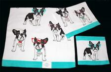 3 Boston Terrier Dogs Huge Colored Sunglasses Bath Hand Towels Washcloth NWT