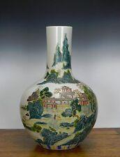 A Large Chinese Famille Rose Landscape Globular Porcelain Vase