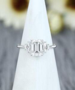14k White Gold Emerald Diamond Baguette Diamond Cluster Ring 3.00Ct Diamond Ring