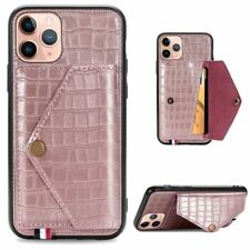 Phone Wallet Case Crocodile Pattern Leather Card Holder Stand Cover For iPhone