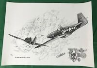 WWII Airplane P-51C Mustang, Numbered & Signed Print, Robert Auth, Stings FW-190