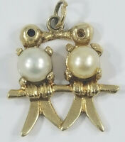Vintage 14K Gold Pearl Kissing LOVE BIRDS Charm