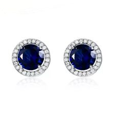 925 Sterling Silver Round Blue Sapphire White Cz Halo Stud Earrings