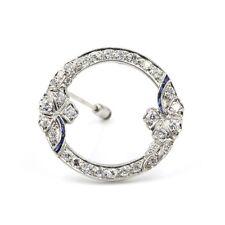 VINTAGE ART DECO PLATINUM DIAMOND AND SAPPHIRE ROUND PENDANT/PIN #478B-9