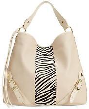 $278 Emma Fox Slouchy Animal Haircalf Leather Hobo Bag, New