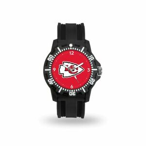 Kansas City Chiefs NFL Black Rubber Strap Water Resistant Mens Watch