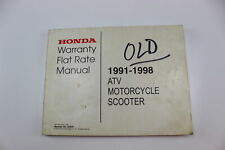 1991-1998 Honda Atv,Scooter,Motorcycle Oem Warranty Flat Rate Manual Mfr7961