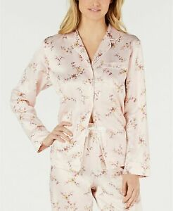 Charter Club Polyester Satin Long-Sleeve Notch Collar Top Pink/Floral NWT