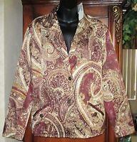 NEW Chico's SZ 3 Paisley Shine Balenza Jacket Chocolate NWT Womens Large 16/18