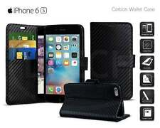 Apple iPhone 6s (4.7 inch) - Carbon Fibre Effect Folio Wallet Book Case Cover