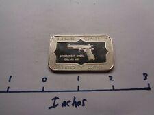 COLT 45 GOVERNMENT MODEL ACP PISTOL GUN 1973 BELFORD MINT 999 SILVER BAR RARE