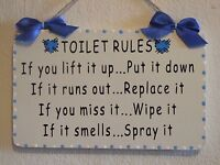 Decorative Handcrafted TOILET RULES bathroom Wooden Sign/Plaque