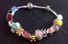Silver Butterfly Enamel & Glass Bead & Crystal  Charm BRACELET #CH12