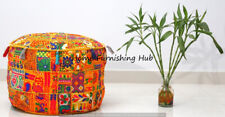 Ottoman Pouf Cover 18'' Indian Patchwork Round Vintage Moroccan Footstool Pouffe