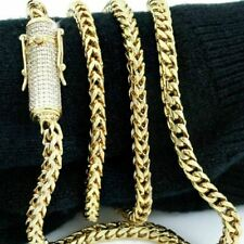 """Men Franco Link Chain 14k Gold Plated 4mm *1ct Diamond Clasp* 24"""" 26"""" & 28"""""""