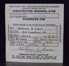 1928 New York State DMV Passenger Car Registration Renewal Stub Collectible