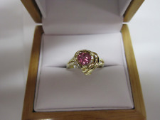 GORGEOUS ESTATE 14 KT GOLD HOT PINK TOURMALINE AND DIAMOND RING !!!!!!!
