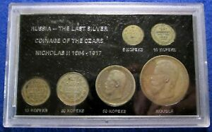 Russia - Last Silver Coinage of the Czars - 6 Coins - 5 Kopeks to 1 Rouble