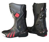 Motorradstiefel hochwertige XLS Boots Touringstiefel schwarz rot Gr. 45 und 46