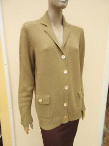Alice Collina - Womens Khaki Cotton V Neck Cardigan - size 16